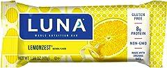 LUNA BAR - Gluten Free Snack Bars, Lemon Zest, 1.9 Ounce, 6 Count
