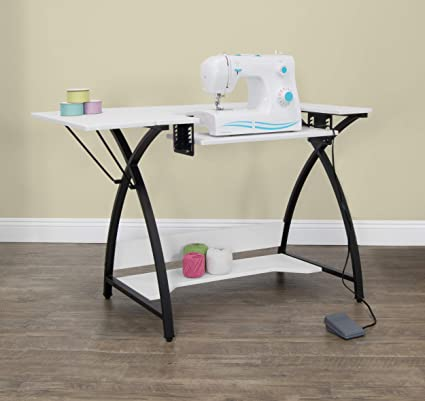 Merveilleux Studio Designs 13332 Comet Sewing Table, Black/White   Comet Couture Table