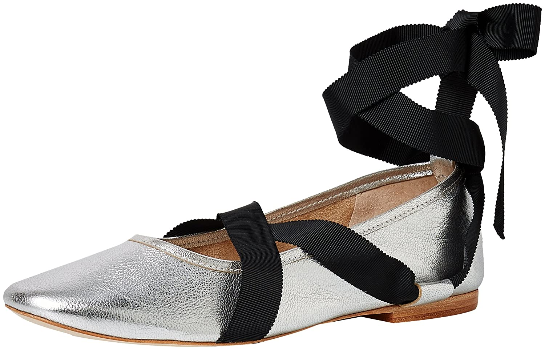 Loeffler Randall Women's Pearl (Metallic Leathergrosgrain) Ballet Flat B06XD7GM6X 9 B(M) US|Silver/Black