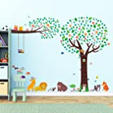 Decowall DML-1312P1410 Large Tree with Animal Friends & Branch with Owls Peel and Stick Nursery Kids Wall Decals Stickers