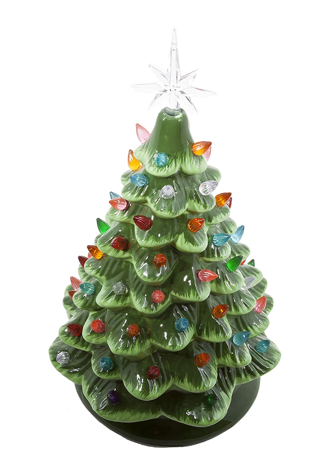 amazoncom relive christmas is forever lighted tabletop ceramic tree 145 green treemulti color lights home kitchen