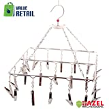 Hazel Stainless Steel Square Cloth Hanger And Clips - 23 Clips