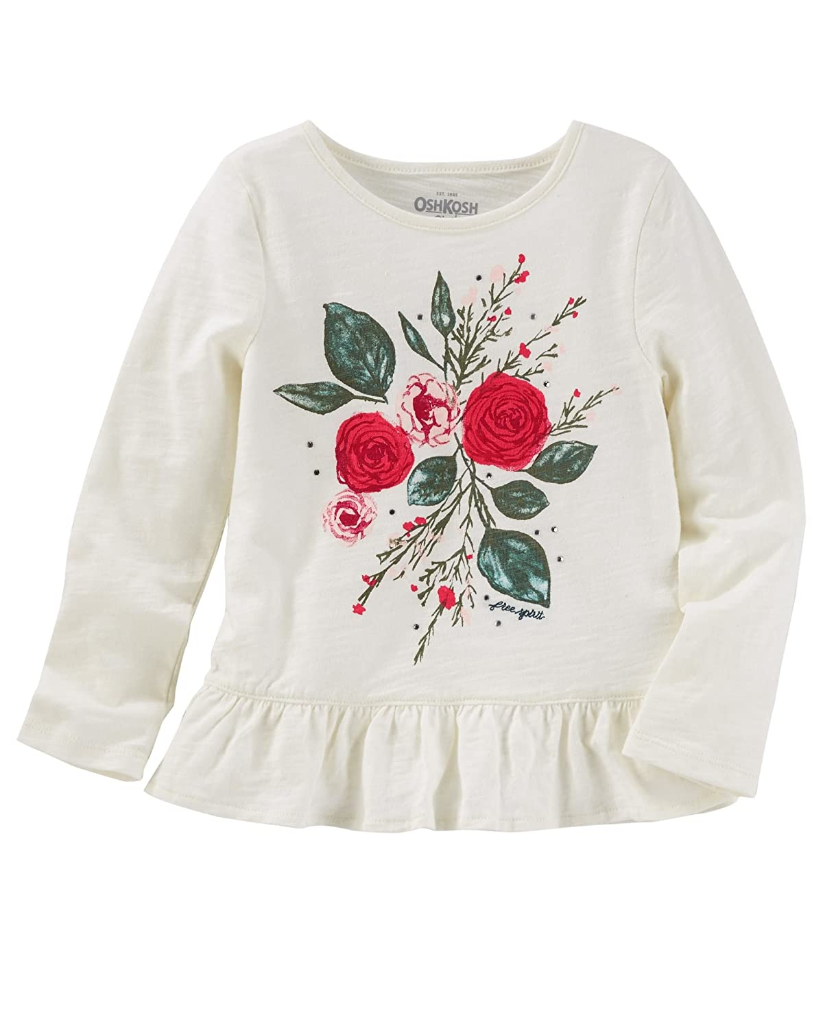OshKosh Girls Ruffle Hem L/S Tee, Rose Graphic, Ivory, 12m