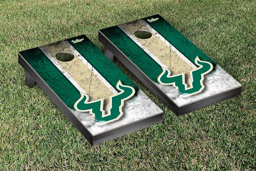 South Florida USF Bulls Cornhole Game Set Vintage Version by Victory Tailgate
