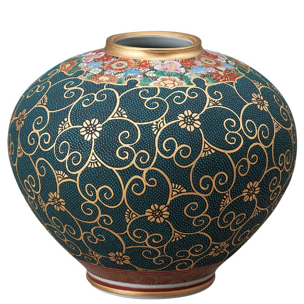 九谷焼 陶器 花瓶 本金青粒花詰 AK5-1337 B0721C1L3Z