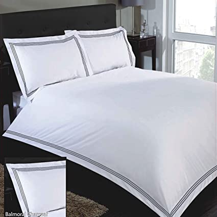 4785fa94be Hotel Quality Duvet Quilt Cover Plain White With Colored Embroidered ...