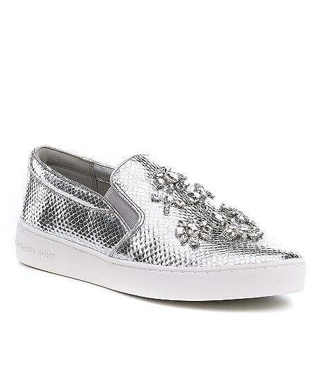 119b23f8a9 Michael Kors Slip On Sneakers Donna 43F6ktfp1m040 Pelle Argento ...