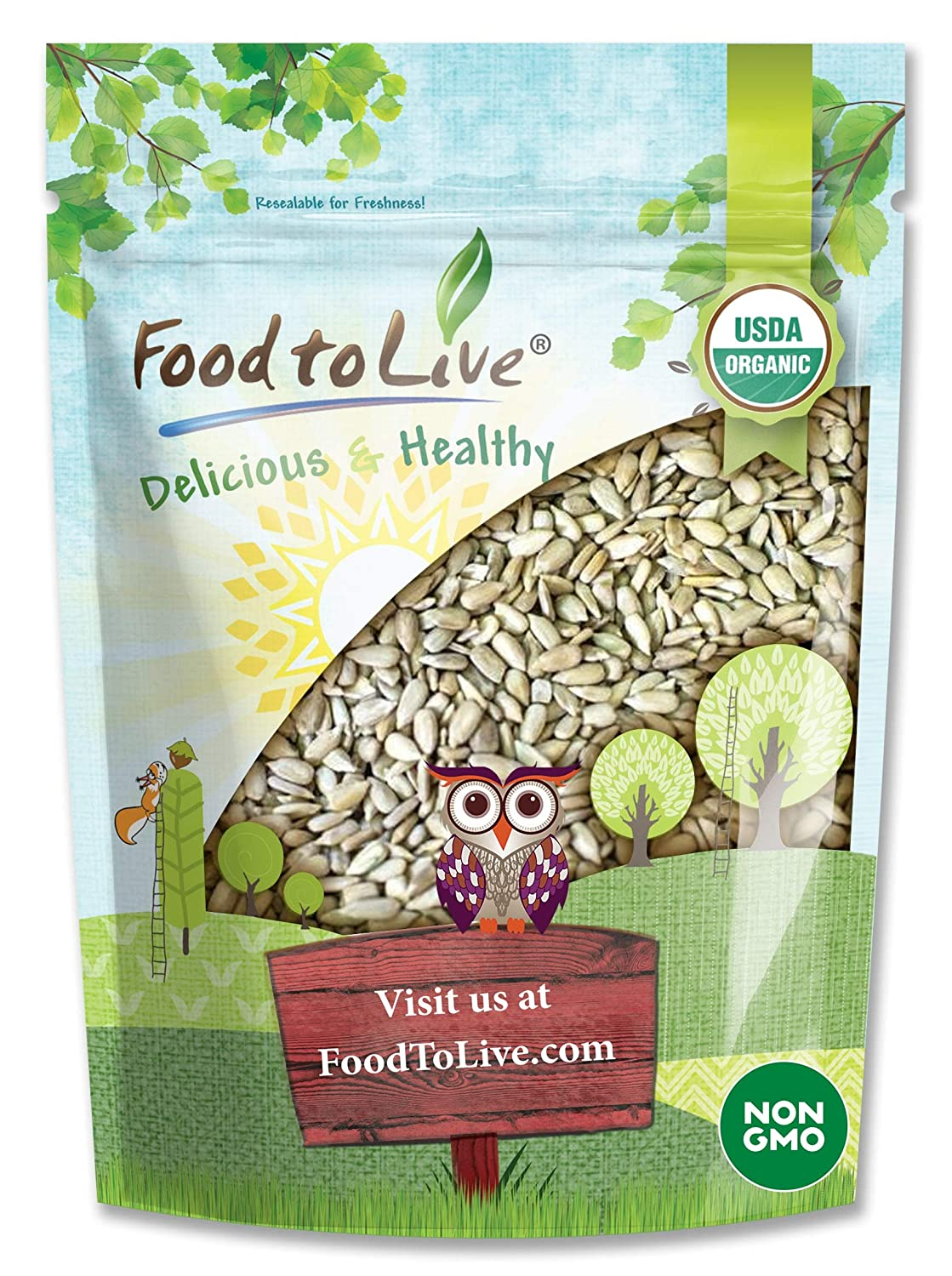Organic Sprouted Sunflower Seeds, 4 Pounds — Non-GMO, Kosher, No Shell, Unsalted, Raw Kernels, Vegan Superfood, Sirtfood, Bulk