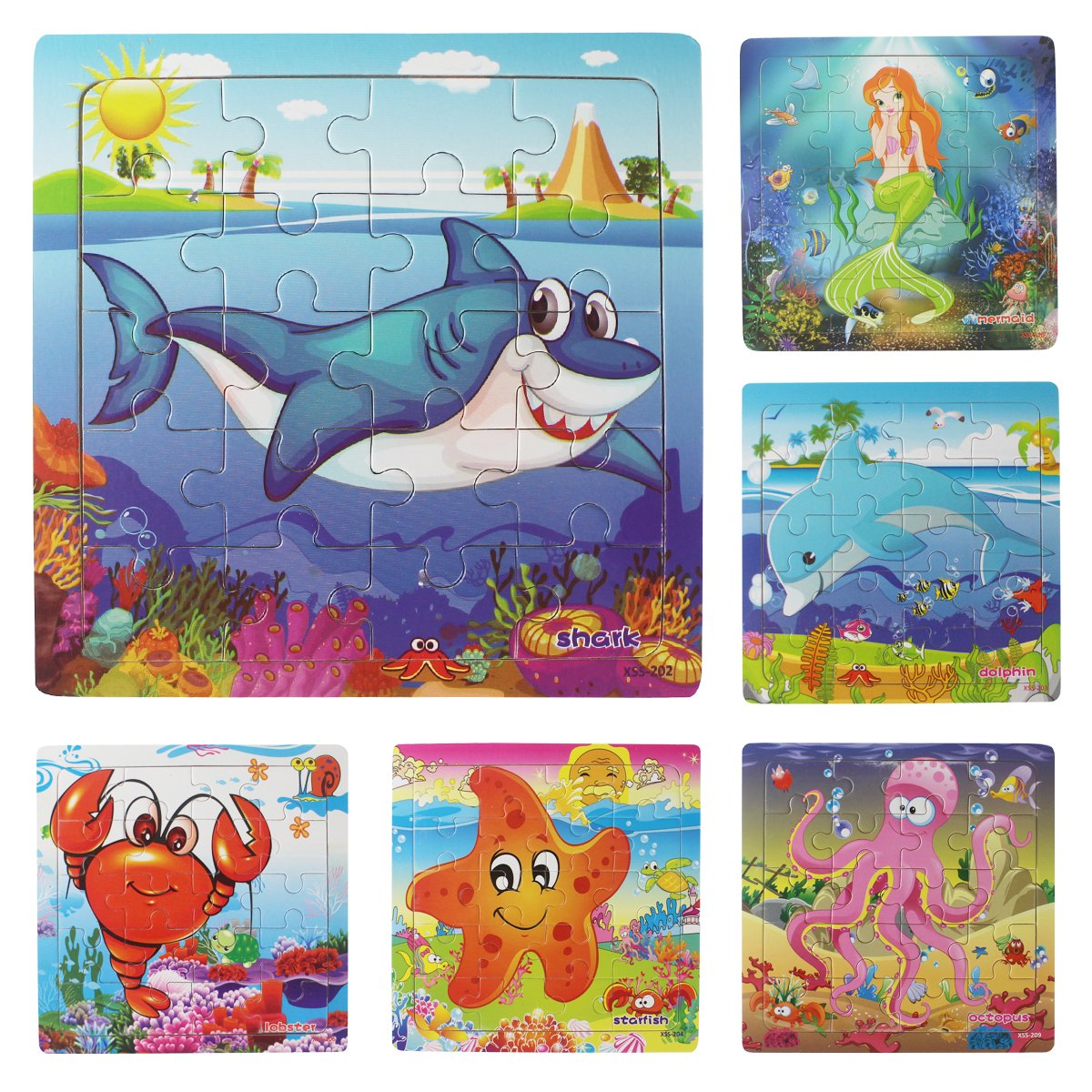 Meshion Wooden Jigsaw Puzzles With Storage Tray Ocean Set Kids Toys Preschool Learning Game For 3-5 Years Old Child,Boys,Girls,Pack Of 6(Mermaid,Octopus,Shark,Starfish,Dolphin,Lobster)