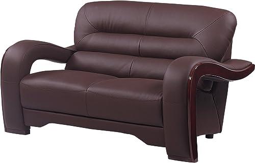 Blackjack Furniture 992 Charles Collection Leather Match Upholstered Modern Living Room, Loveseat, Brown