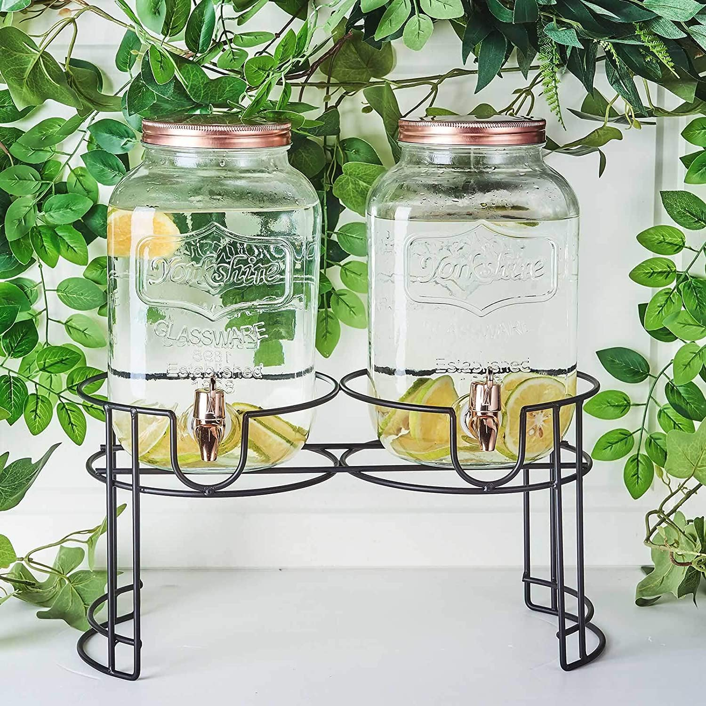 Efavormart Set of 2 Glass Beverage Dispenser with Spigot Metal Lid and One Black Stand - 2 Gallon, Wide Mouth Easy Filling, Cylinder Keeps Daily Use Beverage