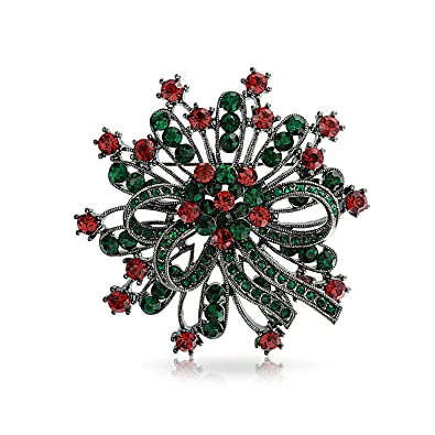 ee2d2a17c59 Amazon.com: Large Holiday Wreath Decoration Christmas Brooch Pin Red ...