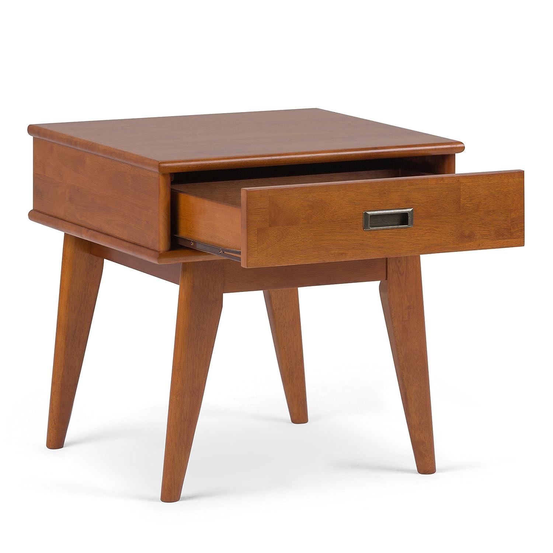 Simpli Home 3AXCDRP-02-TK Draper Solid Hardwood 22 inch wide Mid Century Modern End Table in Teak Brown
