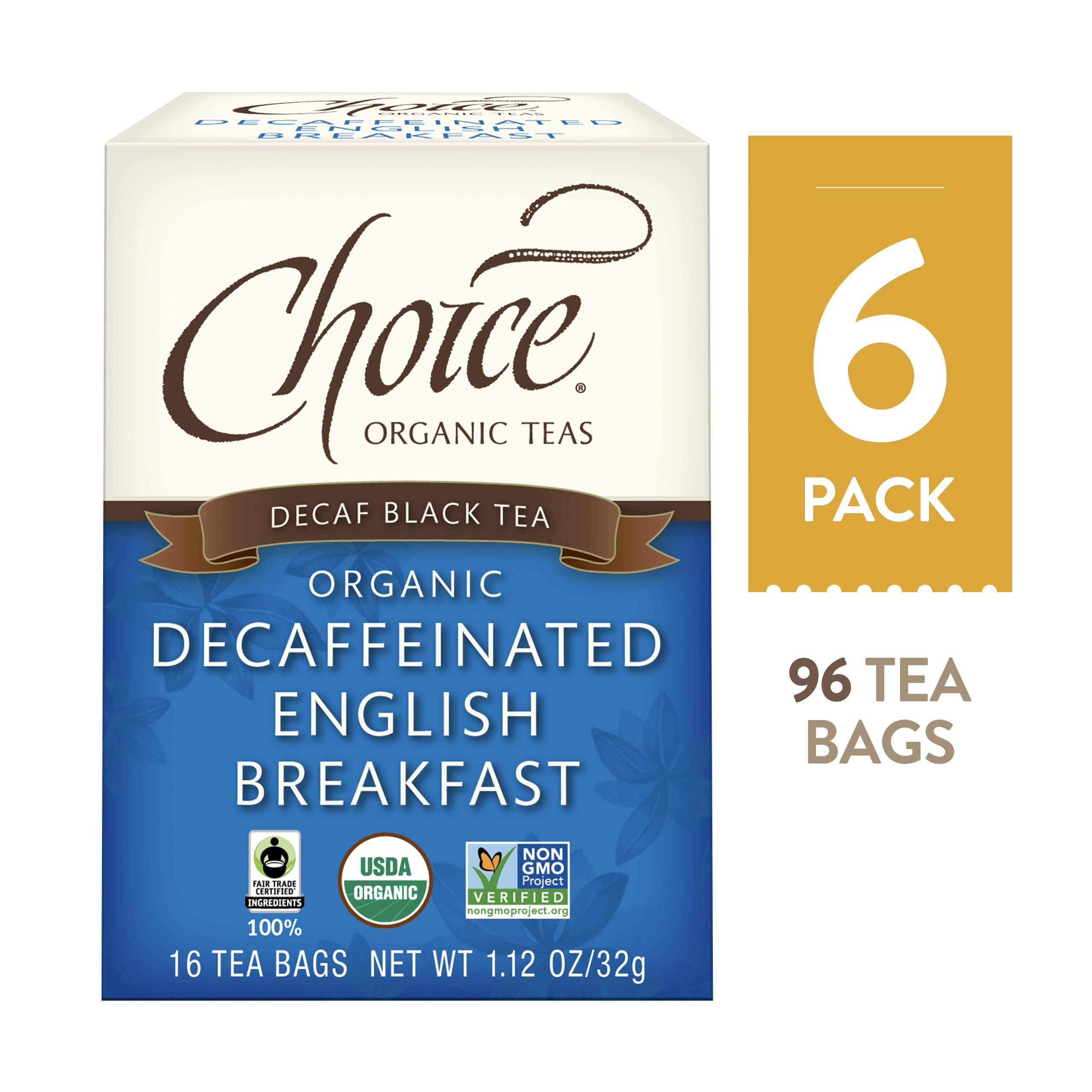 Choice Organic Teas Black Tea, Decaffeinated English Breakfast, 16 Count, Pack of 6 by Choice Organic