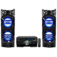 "(2) Technical Pro Dual 10"" 1500w Speakers w/LED Lights + DVD Receiver Amplifier"