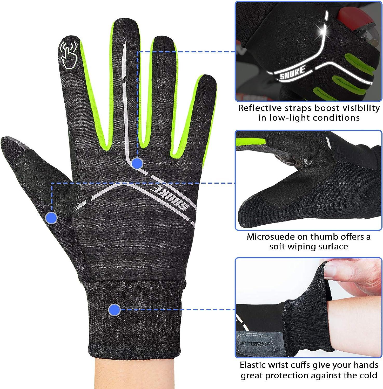 Biking Workout Souke Sports Winter Cycling Gloves Men Women Touch Screen Padded Bike Glove Water Resistant Windproof Warm Anti-Slip for Running