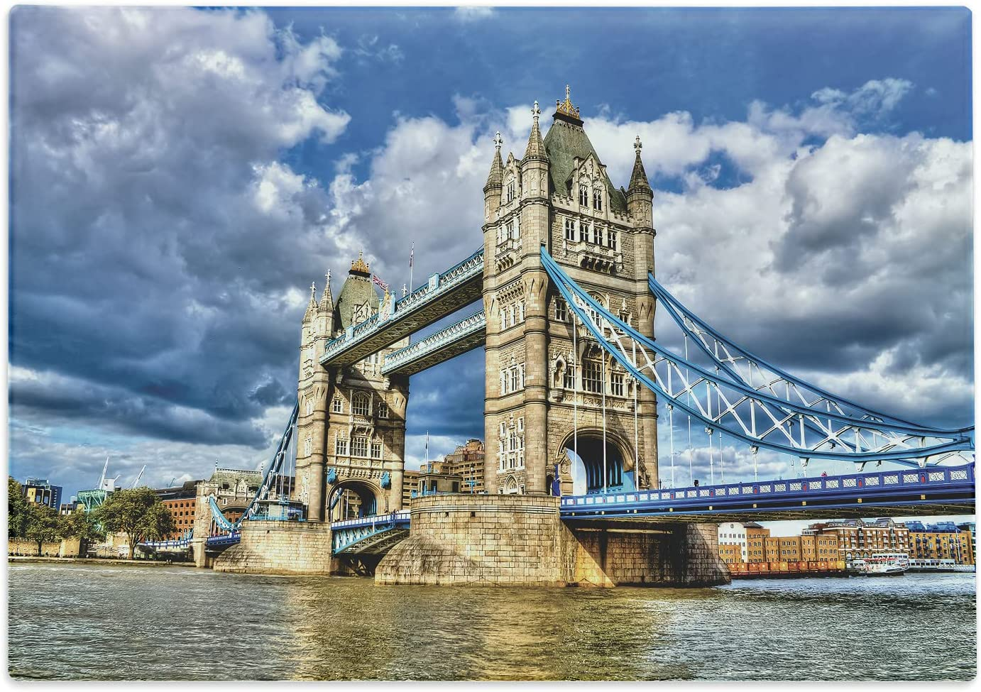 Ambesonne London Cutting Board, Historical Tower Bridge on River London UK British Day Time International Heritage, Decorative Tempered Glass Cutting and Serving Board, Large Size, Multicolor