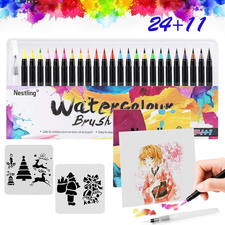 Rotuladores Acuarelables,24 Bolígrafos Para Colorear +1 Agua Pincel +2 Plantillas +8 Pcs Papeles de Dibujar Colorear,Rotuladores Punta Pincel de Nylon Flexibles, para Manga, Bullet Journal,Dibujos