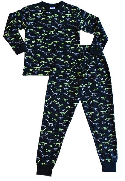 ThePyjamaFactory - pijama largo, impresión de dinosaurio, negro y verde Negro negro 6-