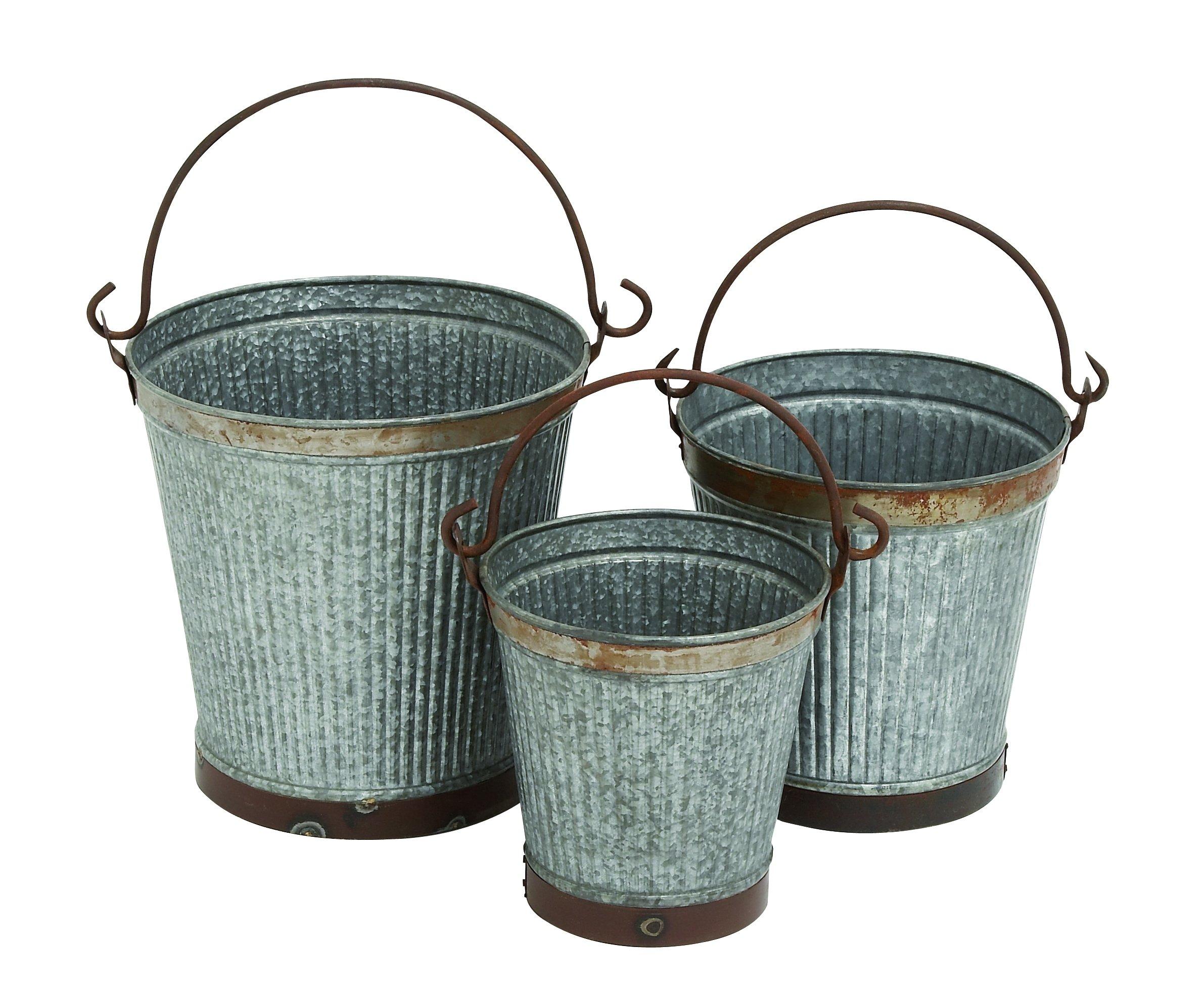 Benzara Metal Galvanized Bucket, Set of 3