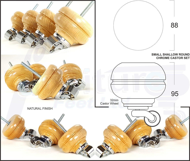 4 X Bois massif Pieds de meubles Pieds de roulette de rechange pour canapés Chaises - canapés - poufs – M8 (8 mm) – Rjb