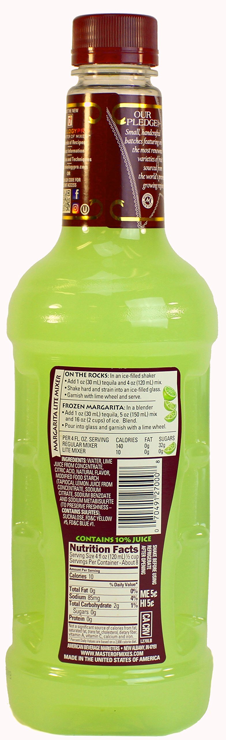 Master of Mixes Margarita Lite Drink Mix, Ready To Use, 1 Liter Bottle (33.8 Fl Oz), Pack of 3 by Master of Mixes (Image #3)
