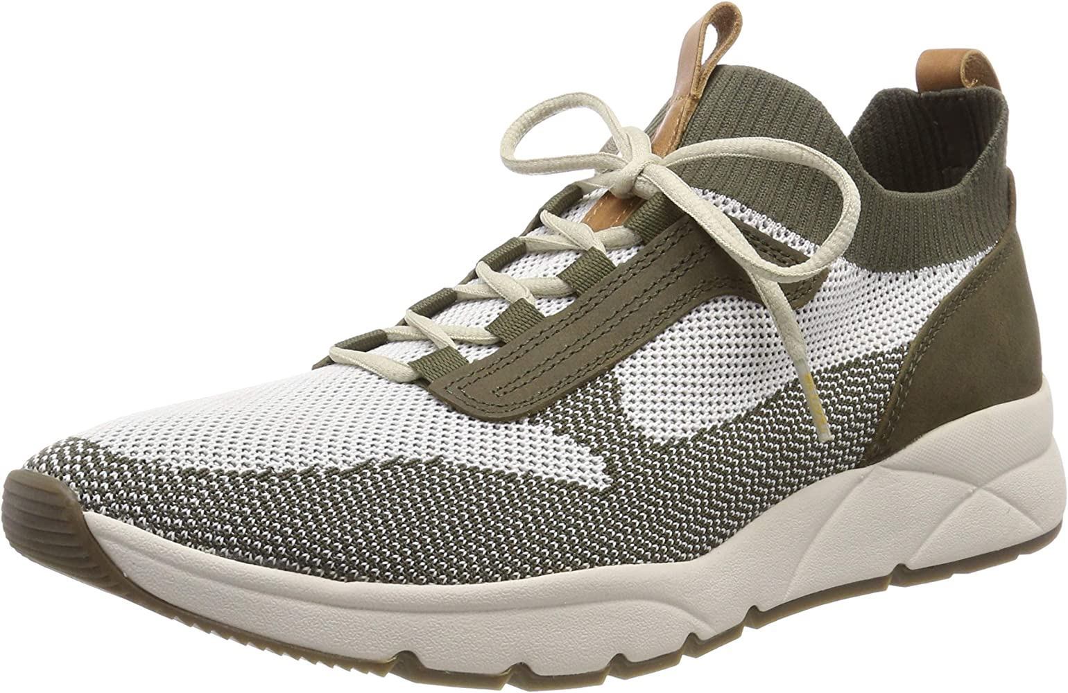 camel active Men's Run 12 Low Top Sneakers, (Off WhiteOlive