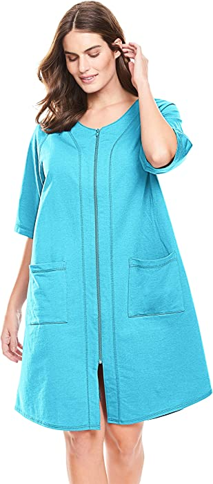 6b0c1a0d199 Dreams   Co. Women s Plus Size Short Sleeve French Terry Robe - Bright ...