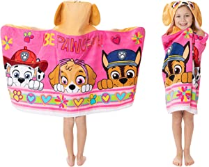 "Franco Kids Bath and Beach Soft Cotton Terry Hooded Towel Wrap, 24"" x 50"", Paw Patrol Pink"