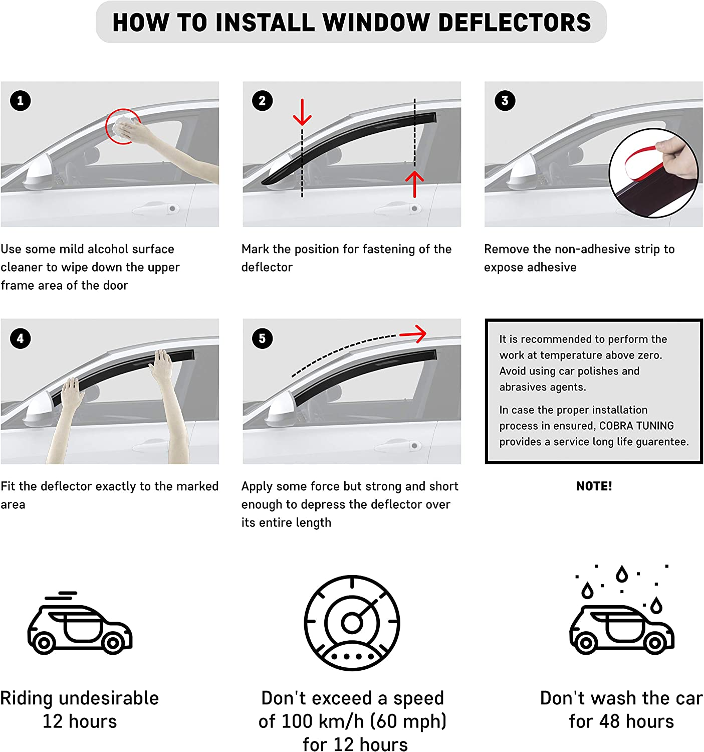 Window Air Guard Deflectors for Protection Against Snow Sun and Rain Compatible with Mazda 5 I 2005-2010 Car Ventvisor Door Side Dark Smoke CT Wind Visor Deflectors Set of 4-Piece