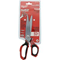 Milwaukee 48-22-4041 Iron Carbide Core Large-Looped Straight Jobsite Scissors w/ Onboard Ruler Markings and Index Finger Groove