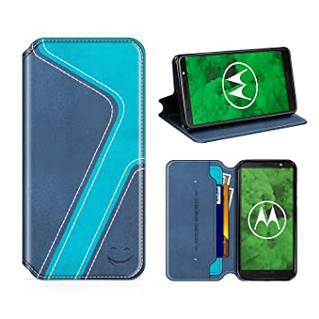MOBESV Smiley Funda Cartera Moto G6 Plus, Funda Cuero Movil Moto G6 Plus Carcasa Case con Billetera/Soporte para Motorola Moto G6 Plus - Azul ...