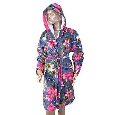e9f832b675 Luxury Bath Robe Women s Hooded Lightweight Cotton Terrycloth Spa Robes  with Pocket (Small Medium