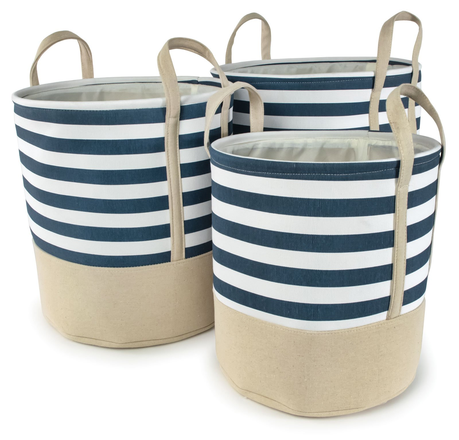 Blue Striped Cotton Canvas Nested Round Hampers, Set of 3 - Lg=17''Dx18''H