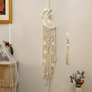 Holmgren Bright Colorful LED Dream Catcher, Handmade Moon and Star Dream Catcher Design Feather Hanging for Wall Hanging living room, Bedroom, Dorm room, Bohemia Home Decor and Gifts for Family (Moon)
