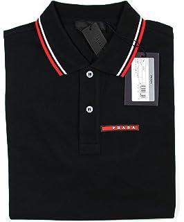 ac82bd890 Prada Men's Cotton Piqué Short Sleeve Slim Fit Polo Shirt, Nero SJJ887