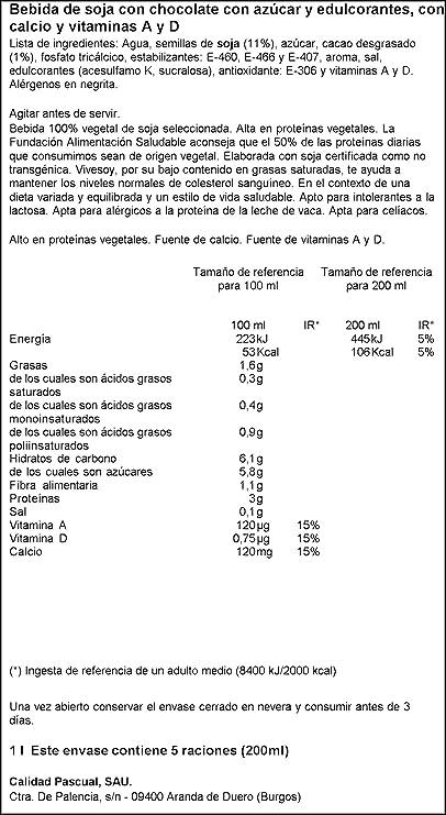 Vivesoy Bebida de Soja con Chocolate - 1 l: Amazon.es ...