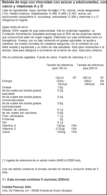 Vivesoy - Bebida de Soja sabor Chocolate - 1 L: Amazon.es: Alimentación y bebidas