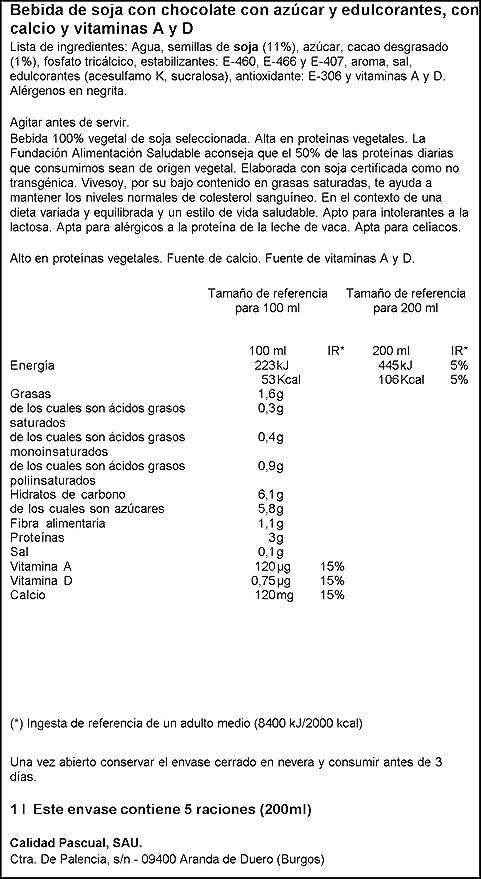 Vivesoy - Bebida de Soja sabor Chocolate - 1 L: Amazon.es ...