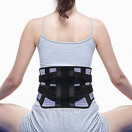 LeaderPro Cinturon Lumbar Faja Lumbar para Mujer y Hombre 4 Pcs Tiras de Acero Interior,