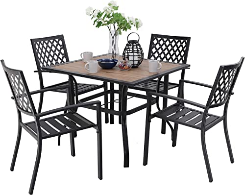 PHI VILLA Metal Outdoor Patio Dining Chairs and 37″x37″ Wood-Like Square Table Furniture Set of 5