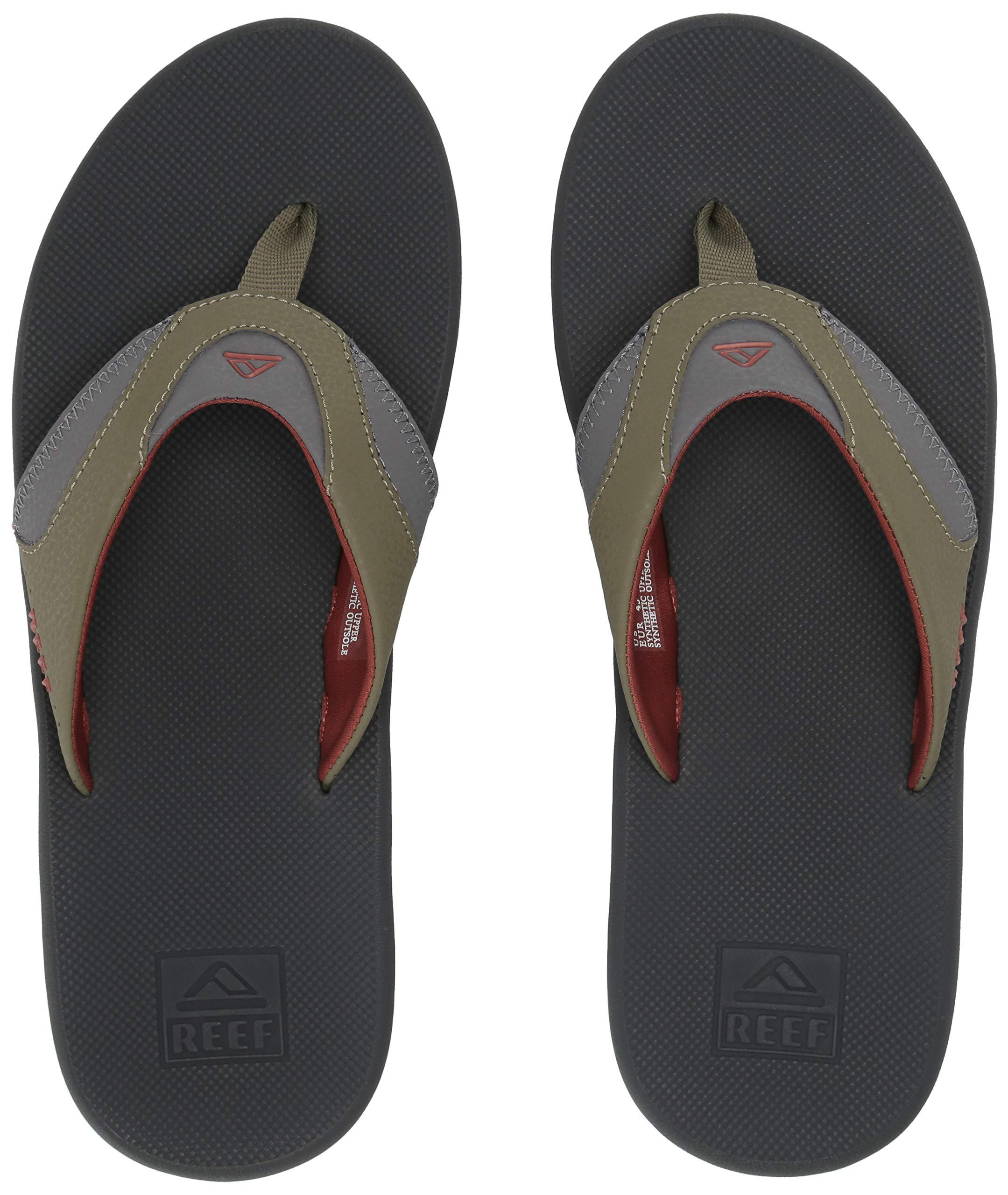 Reef Men's Fanning Sandal, Olive/Rust, 130 M US