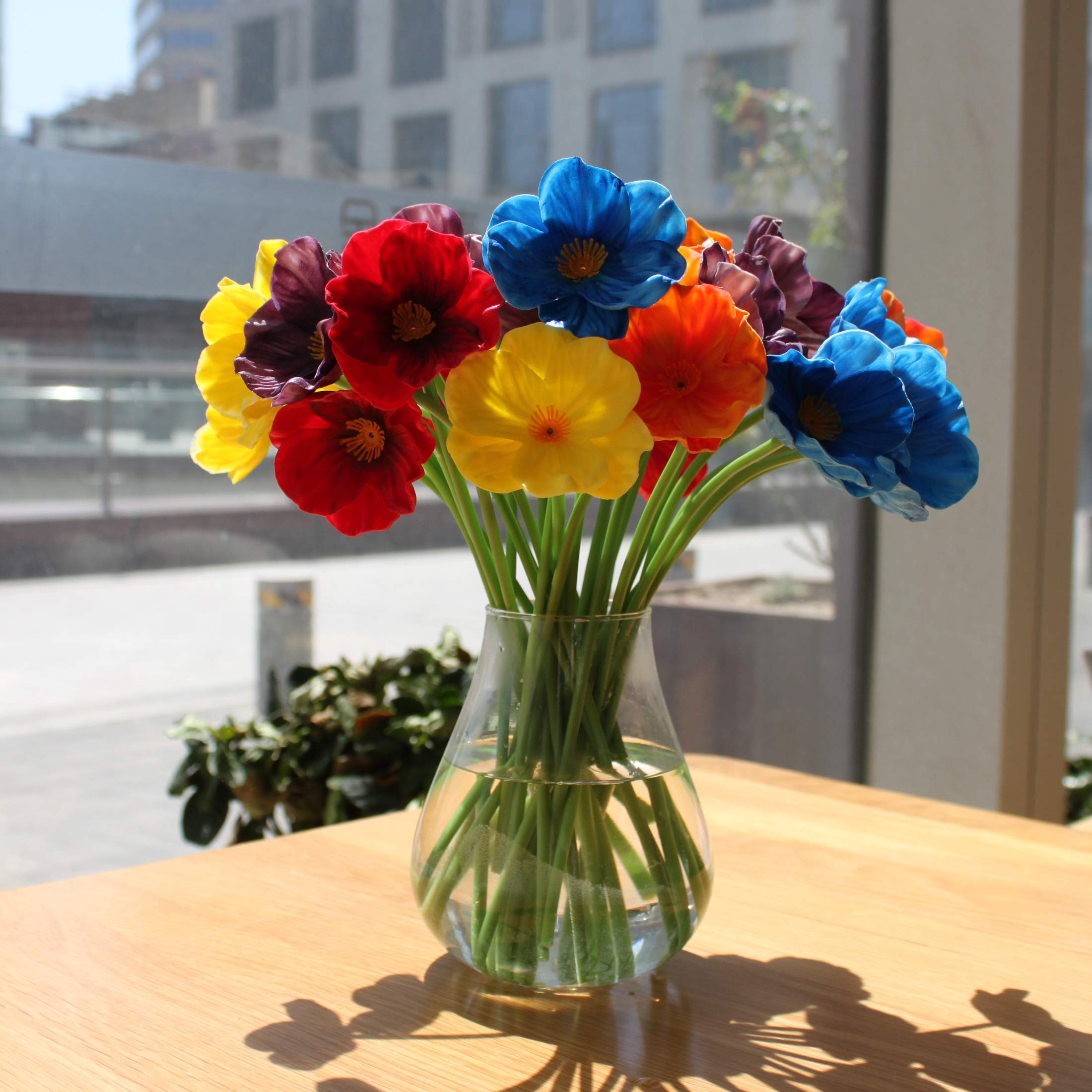 Mandy's 30pcs Multicolor Poppy 12.5'' Artificial Flowers for Wedding Home & Kitchen PU (vase not Include)