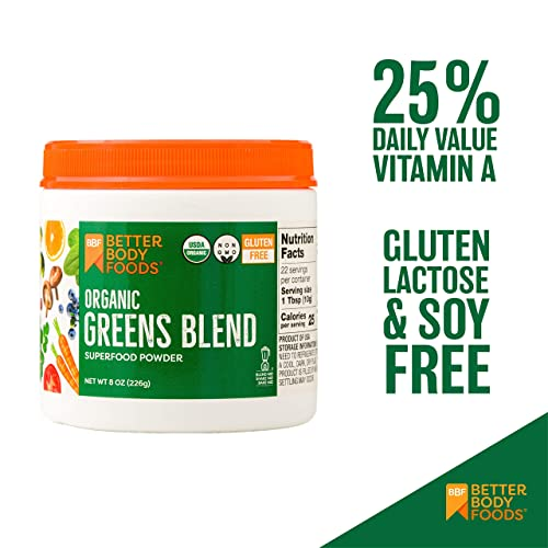 BetterBody Foods Nutrition Foods Organic Greens Blend, 8 Ounces