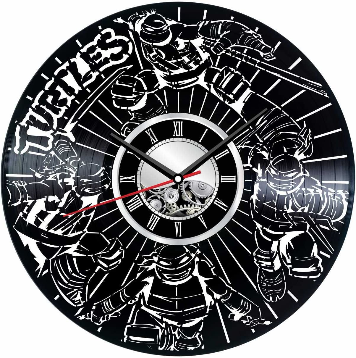 Ninja Turtles Wall Clock Made of Vintage Vinyl Record - Stylish Clock and Amazing Gifts Idea – Unique Home Decor – Personalized Presents for Men Women Kids – Great for Living Room Bedroom Kitchen