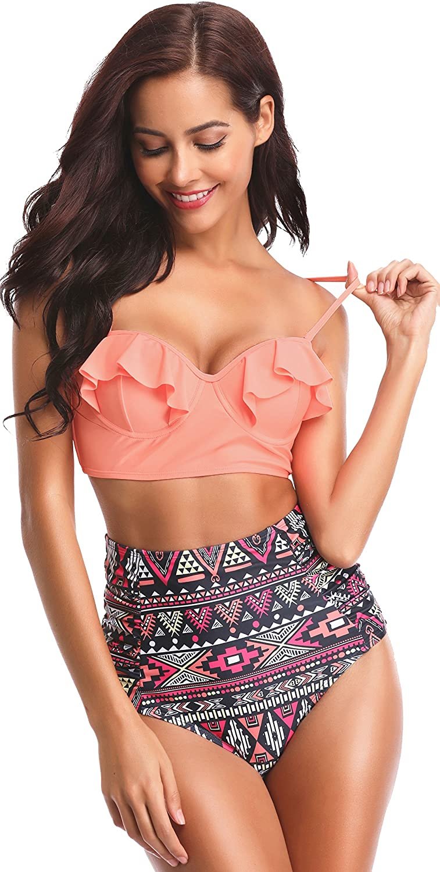 SHEKINI Donna Vintage Ruched A Vita Alta Costume da Bagno Bikini Set Stampati Floreale Increspato Due Pezzi Swimsuit Push Up Halter Regolabile Triangolo Beachwear