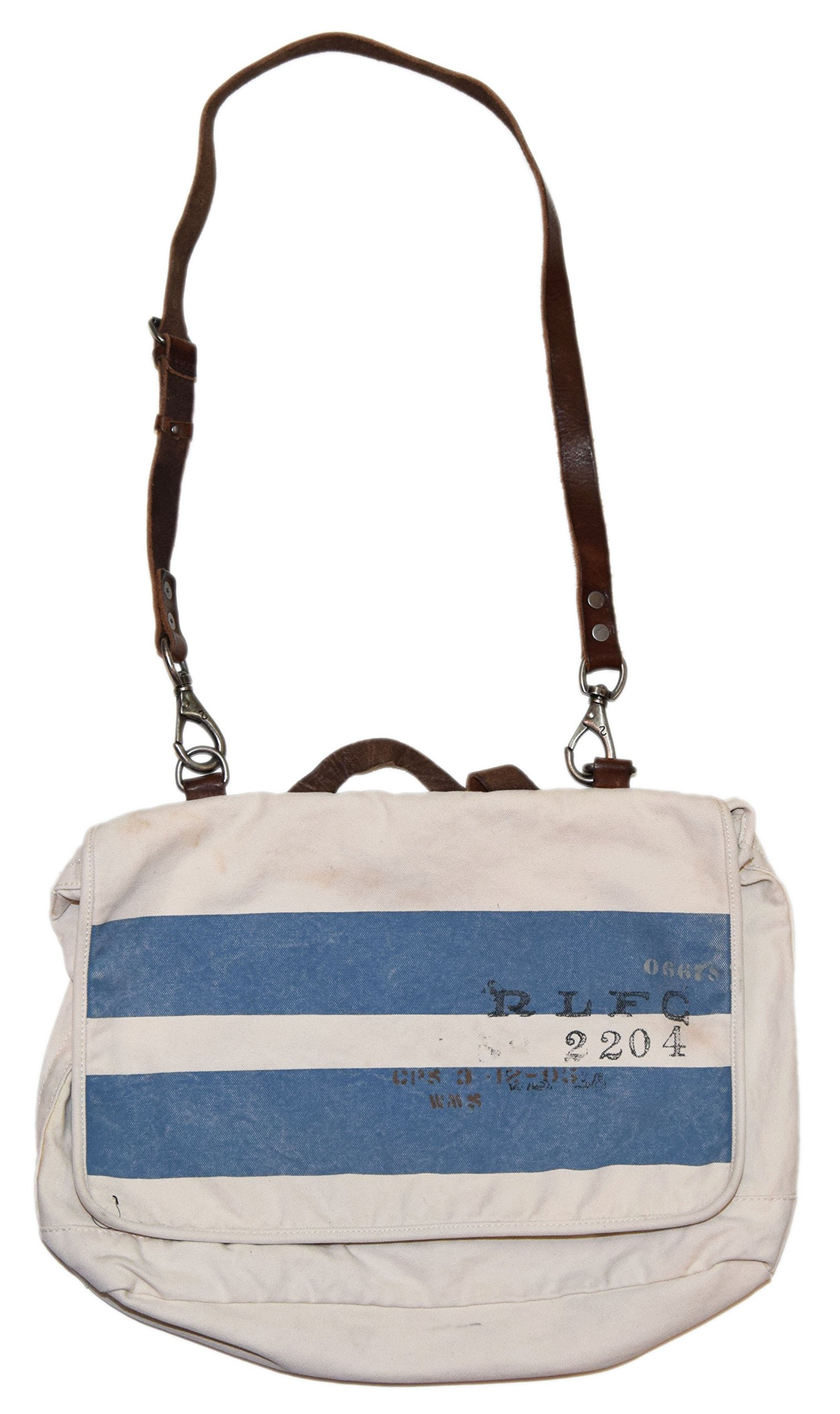 Polo Ralph Lauren Rugby Mens Messenger Travel Canvas Book Bag Tote Beige Blue by RALPH LAUREN
