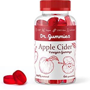 Apple Cider Vinegar Gummies with Mother - All Natural, GMO-Free, Vegan Apple Cider Vinegar Capsules for Increased Energy, Weight Management, Improved Digestion, Detox & More- 60 ACV DR. Gummies