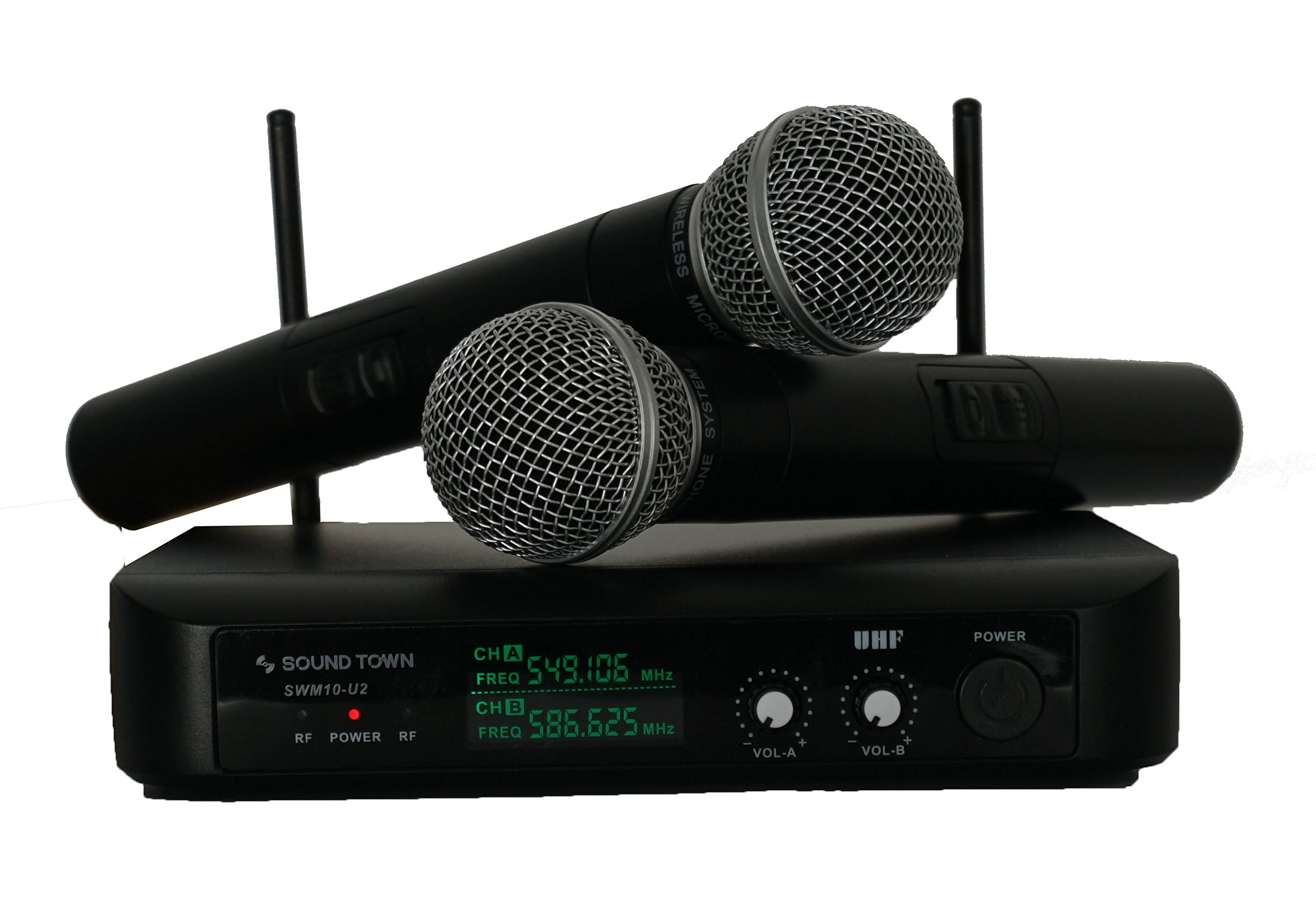 Sound Town Professional Dual-Channel UHF Handheld Wireless Microphone System with LED Display, 2 Handheld Mics (SWM10-U2HH)