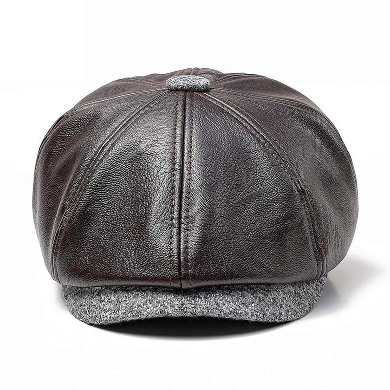 2019 New Tweed Gatsby Newsboy Caps Men Leather Autumn Hat Driving Unisex Berets Hat Button Top Flat Cap